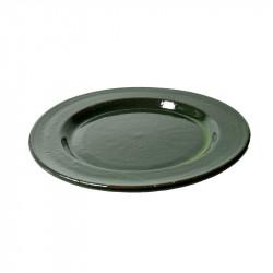 Keramiktallrik, grön lasyr...