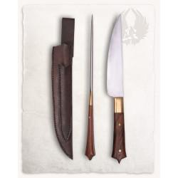 Kniv och Ätpinne i läderfodral